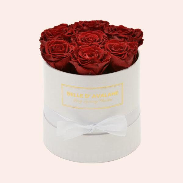 Roses in a box L Ø15 cm-wit-box-bordeaux-rose