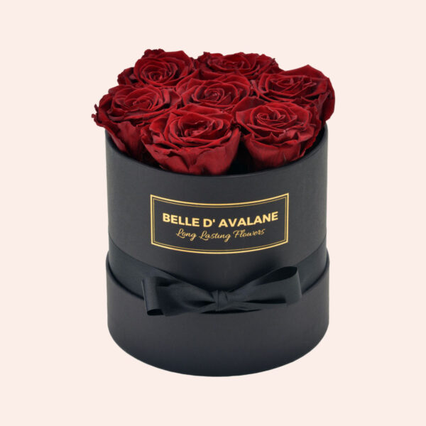 Roses in a box L Ø15 cm-zwart-box-bordeaux-rose