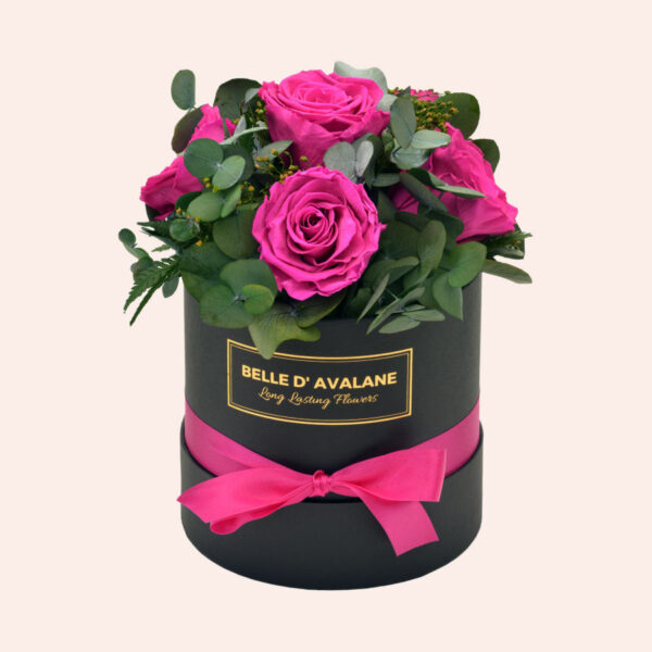 Roses in a box L Ø15 cm Bouquet-zwart-box-fuschia-rose