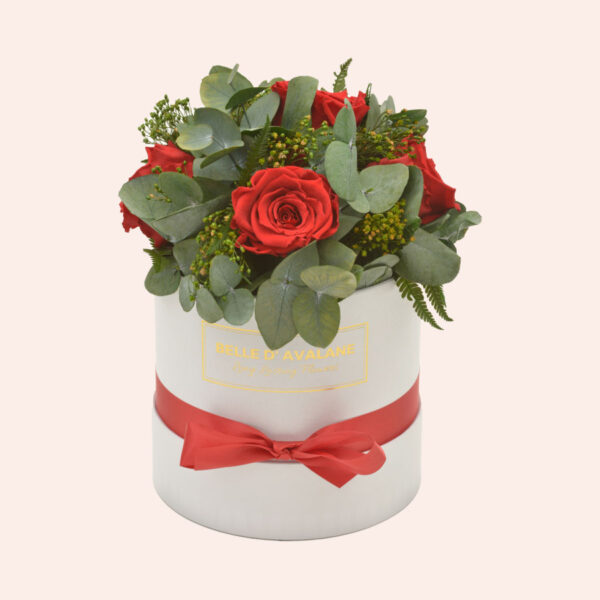 Roses in a box L Ø15 cm Bouquet-wit-box-rood-rose