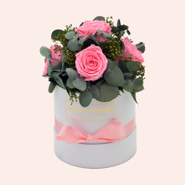 Roses in a box L Ø15 cm Bouquet-wit-box-roze-rose