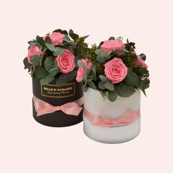 Roses in a box L Ø15 cm Bouquet-wit-en-zwart-box-roze-rose