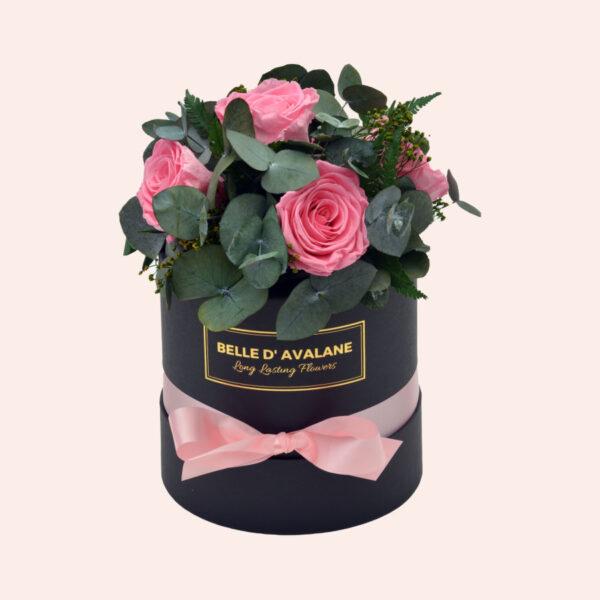 Roses in a box L Ø15 cm Bouquet-zwart-box-roze-rose