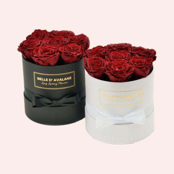 Roses in a box L Ø15 cm-zwart-en-wit-box-bordeaux-rose