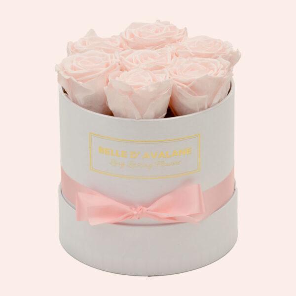 Roses in a box L Ø15 cm-wit-box-lichtroze-rose