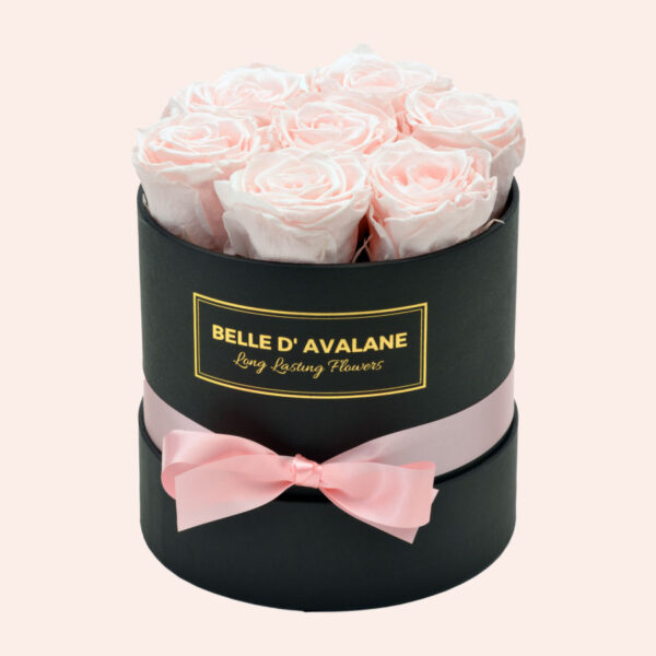 Roses in a box L Ø15 cm-zwart-box-lichtroze-rose