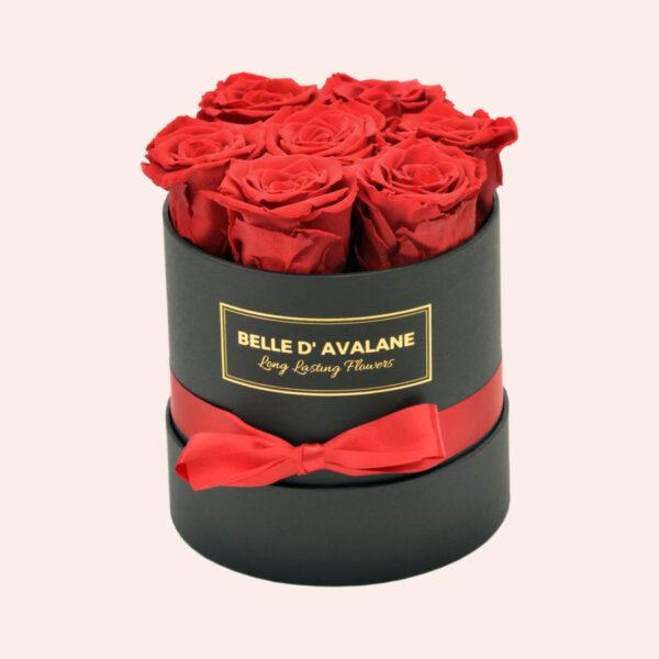 Roses in a box L Ø15 cm-zwart-box-rood-rose