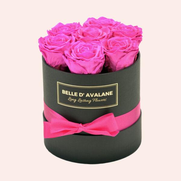 Roses in a box L Ø15 cm-zwart-box-fuschia-rose