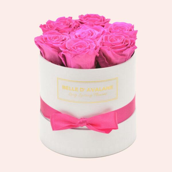 Roses in a box L Ø15 cm-wit-box-fuschia-rose